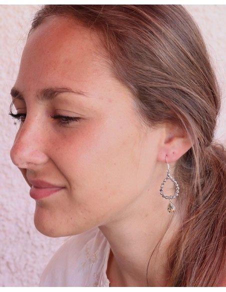 Boucles d'oreilles argent pierre jaune - Mosaik bijoux indiens
