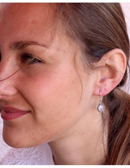 Boucles d'oreilles argent pierre blanche - Mosaik bijoux indiens