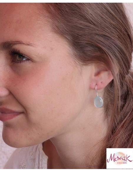 Boucles d'oreilles argent et calcédoine - Mosaik bijoux indiens