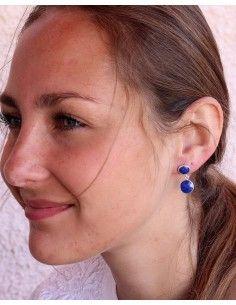 Boucles d'oreilles argent et lapis lazuli taillés - Mosaik bijoux indiens 2