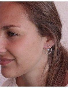 Boucles d'oreilles argent rondes et larimar - Mosaik bijoux indiens 2