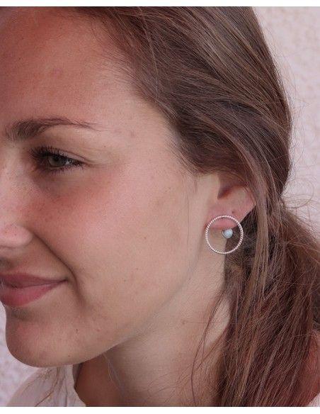 Boucles d'oreilles argent ronde -Mosaik bijoux indiens