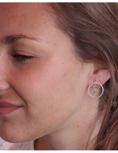 Clous d'oreilles argent et quartz rose rond - Mosaik bijoux indiens