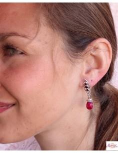 Boucles d'oreilles argent grenat et rubis indien - Mosaik bijoux indiens 2