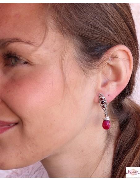 Boucle d'oreille rose en argent - Mosaik bijoux indiens