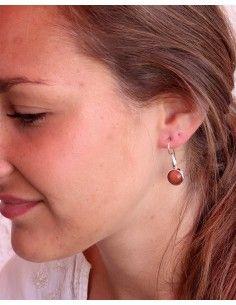Boucles d'oreilles argent et pierre de soleil - Mosaik bijoux indiens 2