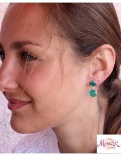 Boucles d'oreilles argent et agate verte ronde facettée - Mosaik bijoux indiens 2