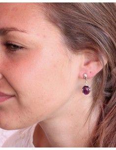Boucles d'oreilles argent et améthyste ronde - Mosaik bijoux indiens 2