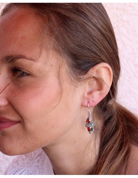 Boucles d'oreilles ethniques argent orange - Mosaik bijoux indiens