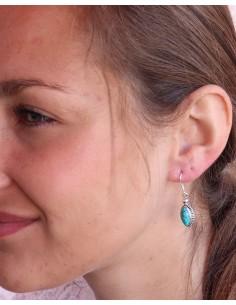 Boucles d'oreilles argent et turquoise naturelle - Mosaik bijoux indiens 2
