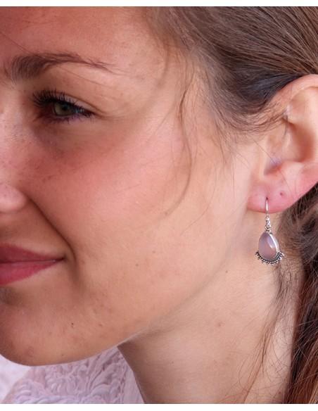 Boucles d'oreilles pierre rose en argent - Mosaik bijoux indiens