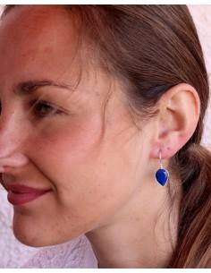 Dormeuses argent et lapis lazuli taillé - Mosaik bijoux indiens 2
