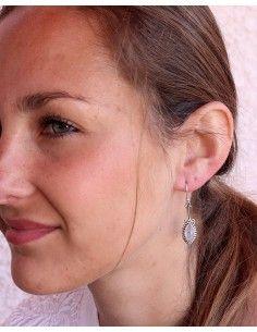 Boucles d'oreilles argent fines et pierre de lune - Mosaik bijoux indiens 2