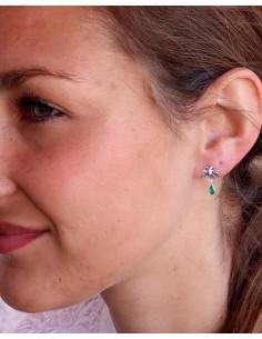 Boucles d'oreilles argent fleurs et agate verte - Mosaik bijoux indiens 2