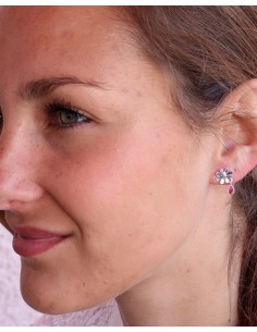 Puces d'oreilles argent fleur et rubis indiens - Mosaik bijoux indiens 2