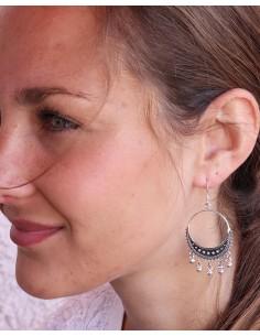Boucles d'oreilles argent bohème à pampilles - Mosaik bijoux indiens 2