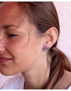 Puces d'oreilles spirales en argent - Mosaik bijoux indiens 2