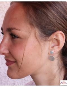 Boucles d'oreilles rondes argent brossé - Mosaik bijoux indiens 2