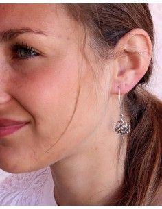 Boucles d'oreilles lotus pendantes en argent - Mosaik bijoux indiens 2