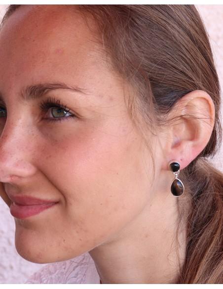 Boucle d'oreille argent et onyx - Mosaik bijoux indiens