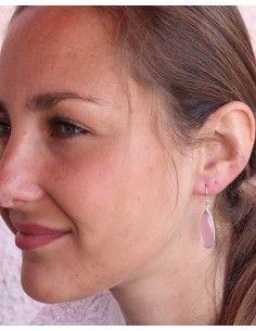 Boucles d'oreilles argent fines et quartz rose - Mosaik bijoux indiens 2