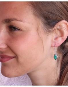 Boucles d'oreilles argent et émeraude indienne - Mosaik bijoux indiens 2