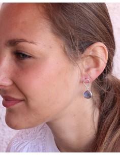 Boucles d'oreilles argent et goutte labradorite - Mosaik bijoux indiens 2
