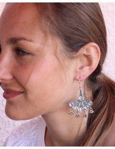 Boucles d'oreilles argent indiennes ethniques - Mosaik bijoux indiens 2