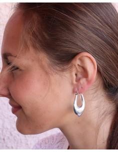 Boucles d'oreilles argent ovales épaisses - Mosaik bijoux indiens 2