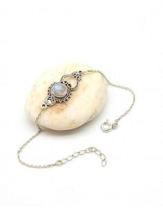 Bracelet argent fin et pierre blanche - Mosaik bijoux indiens