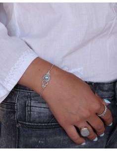 Bracelet argent fin et pierre blanche - Mosaik bijoux indiens 2