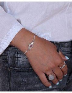 Bracelet argent fin et rubis taillé - Mosaik bijoux indiens 2