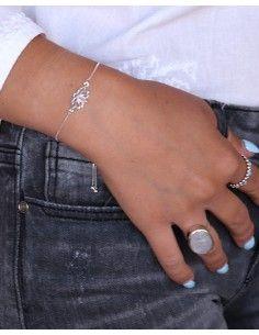 Bracelet ajustable argent et lotus - Mosaik bijoux indiens 2