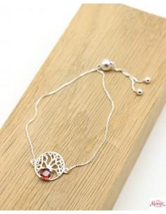 Bracelet arbre de vie et pierre rouge - Mosaik bijoux indiens