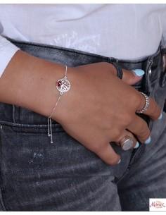 Bracelet arbre de vie et pierre rouge - Mosaik bijoux indiens 2