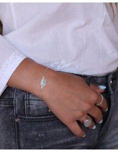 Bracelet fin argent lotus - Mosaik bijoux indiens 2