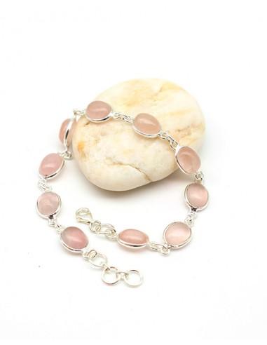 Bracelet argent et quartz rose - Mosaik bijoux indiens