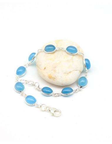 Bracelet argent et pierres bleues - Mosaik bijoux indiens