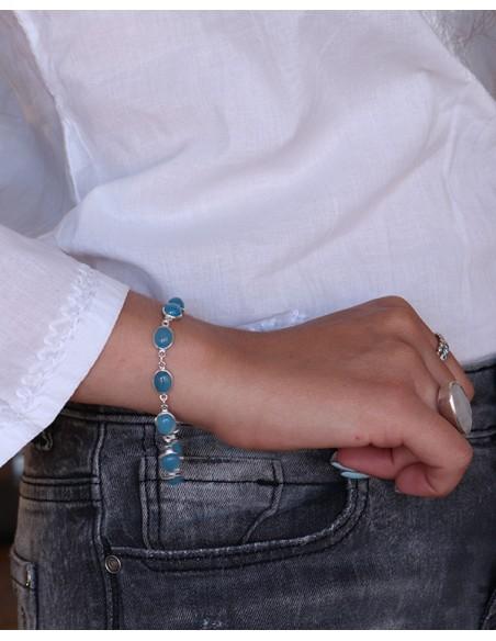 Bracelet agate bleue en argent - Mosaik bijoux indiens