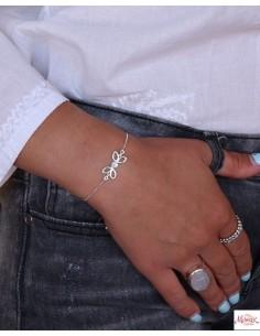 Bracelet argent et pierre bleue - Mosaik bijoux indiens 2
