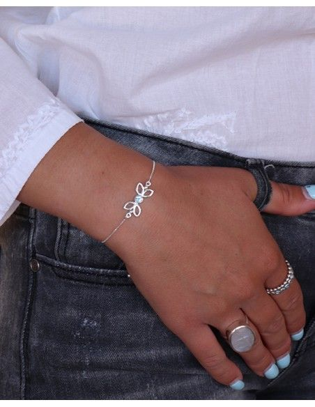 Bracelet fin ajustable argent - Mosaik bijoux indiens
