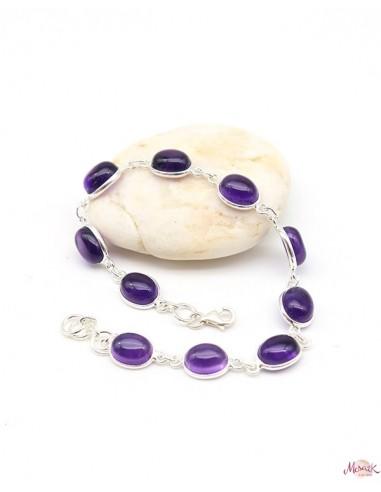 Bracelet argent et pierres violettes - Mosaik bijoux indiens