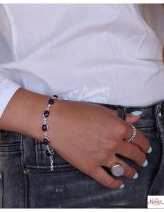Bracelet argent et pierres violettes - Mosaik bijoux indiens 2