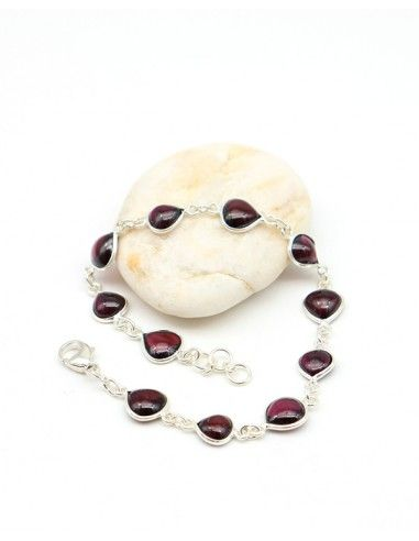 Bracelet argent fin et pierre bordeaux - Mosaik bijoux indiens