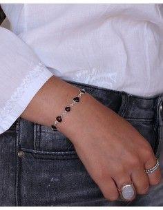 Bracelet argent fin et pierre bordeaux - Mosaik bijoux indiens 2