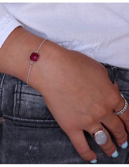 Bracelet fin pierre rose - Mosaik bijoux indiens