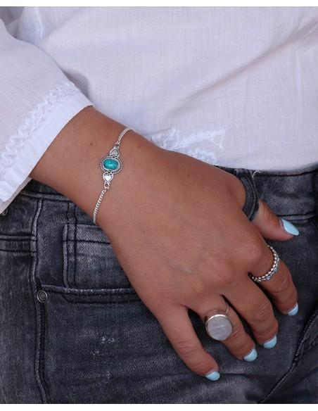 Bracelet fin chaînette et turquoise - Mosaik bijoux indiens