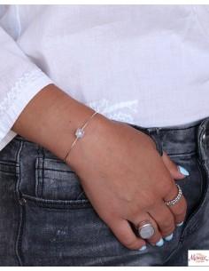 Bracelet argent fin et pierre de lune - Mosaik bijoux indiens 2