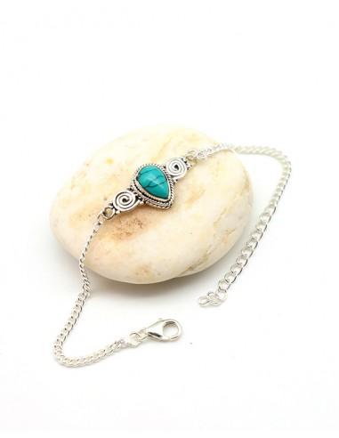 Bracelet fin argent et turquoise - Mosaik bijoux indiens