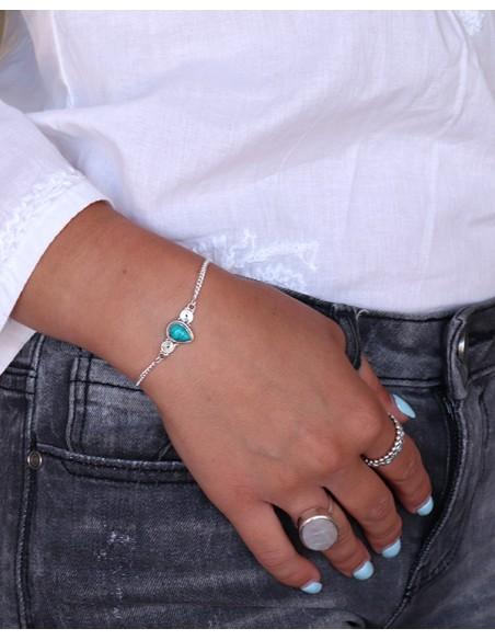 Bracelet argent et turquoise - Mosaik bijoux indiens